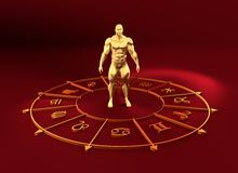 Astrology symbols circle. Muscular man in center Royalty Free Stock Photo
