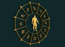 Astrology symbols circle. Muscular man in center Royalty Free Stock Photography