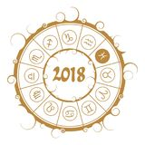 Astrology symbols in circle. Pisces sign. Astrological symbols in the circle. Pisces sign. New Year and Christmas celebration card template. Zodiac circle with Royalty Free Stock Photo