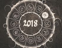 Astrology symbols in circle. Pisces sign. Astrological symbols in the circle. Pisces sign. New Year and Christmas celebration card template. Zodiac circle with Stock Photography
