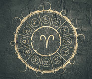 Astrology symbols in circle. Ram sign Royalty Free Stock Photography