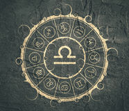 Astrology symbols in circle. Scales sign Stock Photography