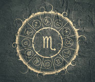 Astrology symbols in circle. Scorpion sign Stock Image