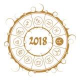 Astrology symbols in circle. Taurus sign Stock Image