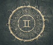 Astrology symbols in circle. Twins sign Royalty Free Stock Photos