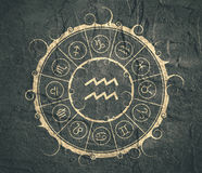 Astrology symbols in circle. Water bearer sign Royalty Free Stock Image