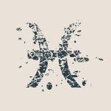 Astrology symbols. Fish sign. Astrological symbol. Vector illustration. Fish sign. Grunge splatter texture Stock Photography