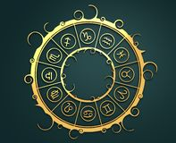 Astrology symbols in golden circle