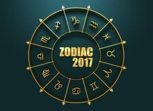 Astrology symbols in golden circle Royalty Free Stock Images