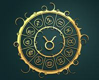 Astrology symbols in golden circle. The bull sign Royalty Free Stock Photos