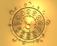 Astrology symbols in golden circle. The bull sign Royalty Free Stock Photography