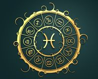 Astrology symbols in golden circle. The fish sign Stock Photo
