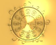 Astrology symbols in golden circle. The fish sign Royalty Free Stock Image
