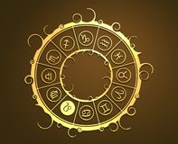 Astrology symbols in golden circle. The lion sign Royalty Free Stock Photos