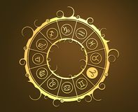 Astrology symbols in golden circle. The ram sign Stock Images