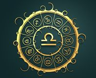Astrology symbols in golden circle. The scales sign Stock Photo