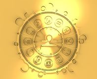 Astrology symbols in golden circle. The scales sign Royalty Free Stock Photography