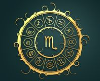Astrology symbols in golden circle. The scorpion sign Stock Image