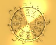 Astrology symbols in golden circle. The scorpion sign Royalty Free Stock Photography