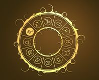 Astrology symbols in golden circle. The scorpion sign Stock Photo
