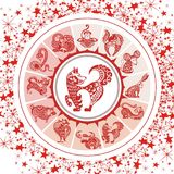 Astrology symbols and mystic signs in red colors Stock Images