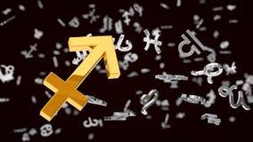Astrology themed 3d illustration with choosen one sagittarius sign Stock Photos