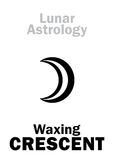 Astrology: Waxing CRESCENT (MOON). Astrology Alphabet: Waxing CRESCENT (Moon increase). Hieroglyphics character sign (single Royalty Free Stock Images