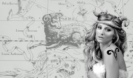 Astrology. Woman Aries Zodiac Sign. Astrology. Aries Zodiac Sign. Beautiful woman with horns Stock Images