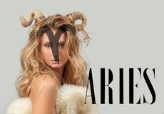 Astrology. Woman Aries Zodiac Sign. stock image