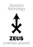 Astrology: ZEUS (uranian planet). Astrology Alphabet: ZEUS, Uranian planet (trans-neptunian point). Hieroglyphics character sign &# Royalty Free Stock Photo