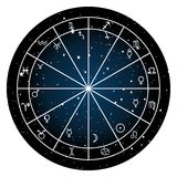 Astrology zodiac with natal chart, zodiac signs and planets. Over white background Stock Photo