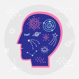 Astrology zodiac symbols, planets, esoteric elements in human head. Vector for t shirt printing, poster. Graphic tee design. Astrology zodiac symbols, planets Royalty Free Stock Image