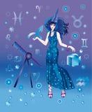 Astroloog met teken van dierenriem van Boogschutter Vector Illustratie