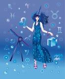 Astroloog met teken van dierenriem van het karakter van de Leeuw Stock Illustratie