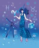 Astroloog met teken van dierenriem van karakter Ariesi Stock Illustratie