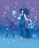 Astroloog met teken van dierenriem van Schorpioen Royalty-vrije Illustratie