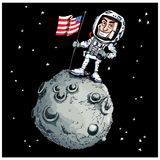 Astronaout de dessin animé sur la lune Images stock