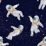 Astronauci z astronautycznymi kostiumami w różnorodnych pozach wektor bezszwowy wzoru ilustracji