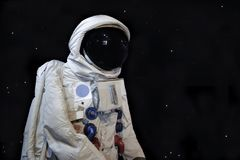 Astronaunt low angle shot and star background royalty free stock photo