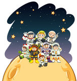 Astronaunts standing on the planet