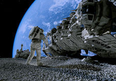 The astronaut. On a background of a planet royalty free stock images
