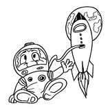 Astronaut. Black and White Cartoon Illustration, Vector Royalty Free Stock Images