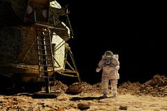 The astronaut. On the background of the planet Royalty Free Stock Photo