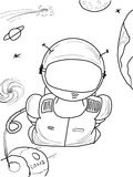 Astronaut_35. Children's drawing a pencil on a space theme Royalty Free Stock Photo