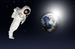 Astronaut. Earth space view and a astronaut