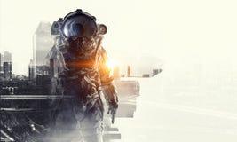 Astronaut in fantasy world. Mixed media Royalty Free Stock Photo