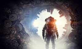 Astronaut in fantasy world. Mixed media Royalty Free Stock Image