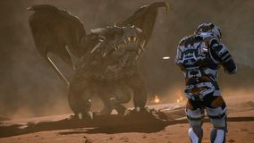 Astronaut against the dragon. Epic battle with explosions, shots and smoke on an uncharted planet. 3D animation fantasy