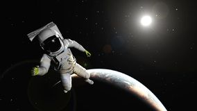 The astronaut against the Earth Stock Photos