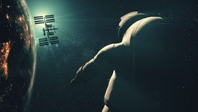 Astronaut against International Space Station silhouette